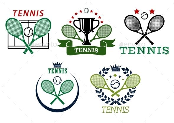 GraphicRiver Tennis Sport Symbols and Emblems 9677450