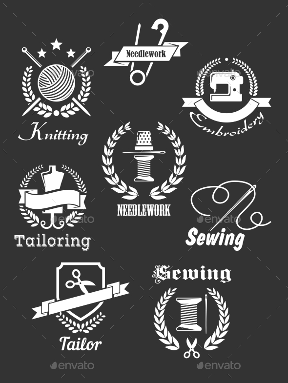 GraphicRiver White Handicraft Icons on Black 9677459