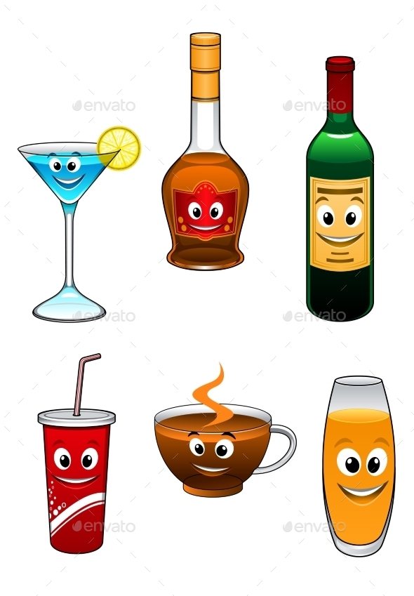 GraphicRiver Drinks and Beverage Cartoon Characters 9677463