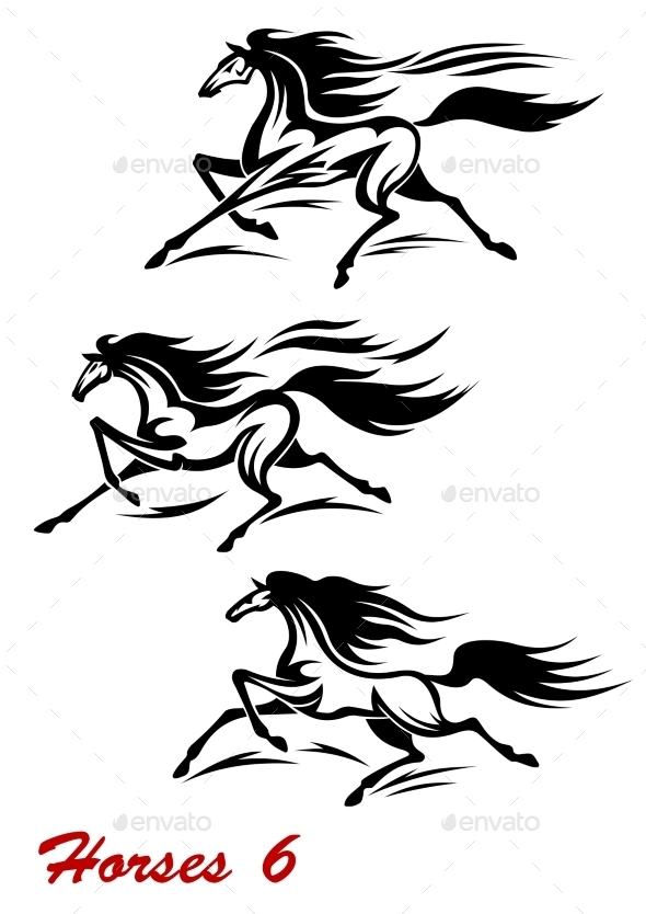 GraphicRiver Fast Galloping Horses and Mustangs 9677471