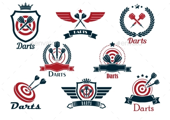 GraphicRiver Darts Heraldic Sports Emblems and Symbols 9677477