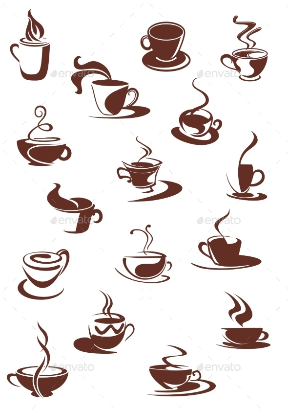 GraphicRiver Set of Hot Coffee Sketches 9677481