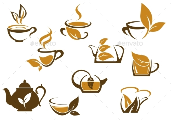 GraphicRiver Set of Organic and Herbal Tea Icons 9677482