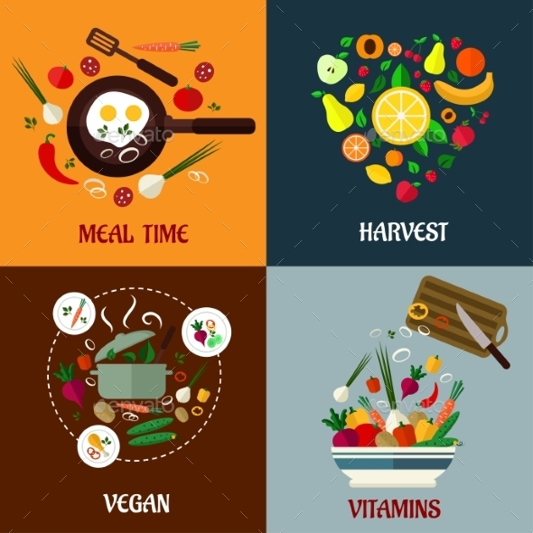 GraphicRiver Colorful Flat Food Poster Designs 9677484