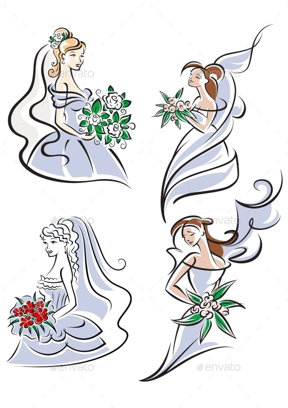 GraphicRiver Bride Holding Bouquet of Flowers 9677497