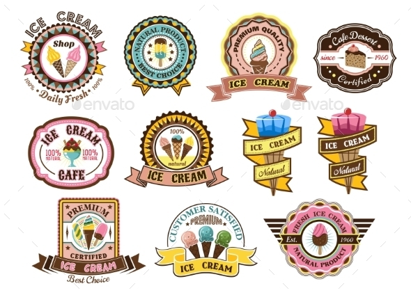 GraphicRiver Ice Cream Emblems 9677588