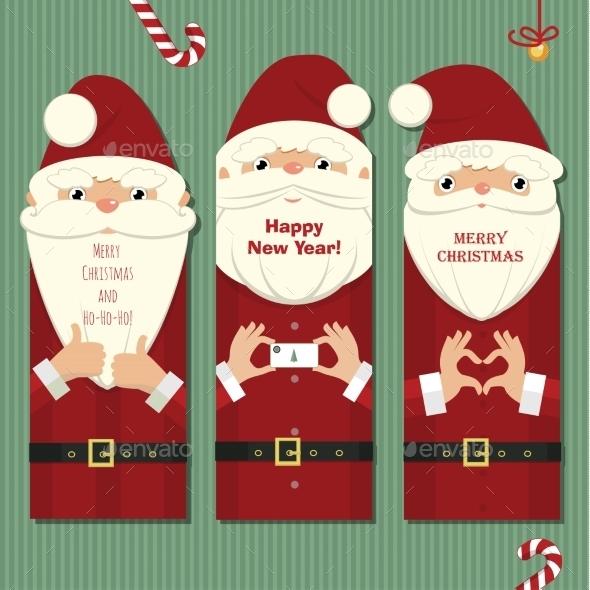 GraphicRiver Santa Claus Three Cards 9677761