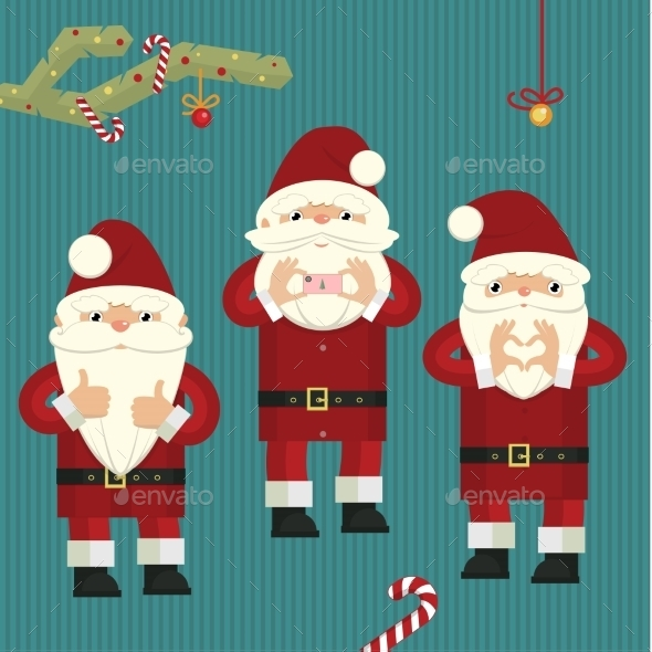 GraphicRiver Three Figures of Santa Clauses 9677763