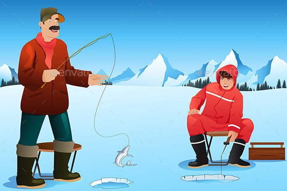 GraphicRiver Men Ice Fishing 9677770