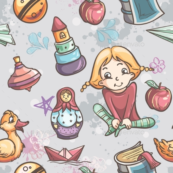 GraphicRiver Children with Toys Pattern 9677932