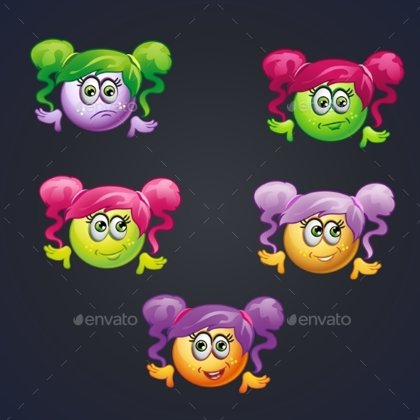 GraphicRiver Set of Smilies Girls with Different Emotions 9677952