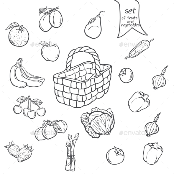 GraphicRiver Set of Fruits and Vegetables with a Basket 9678035