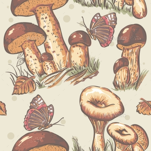 GraphicRiver Autumn Seamless Texture of Mushrooms 9678040