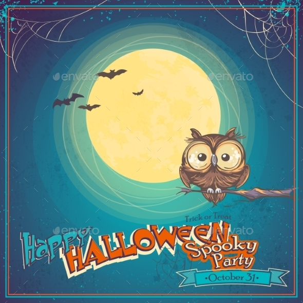 GraphicRiver Greeting Card Halloween with Owl on Background 9678053
