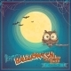Greeting Card Halloween with Owl on Background - GraphicRiver Item for Sale