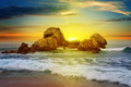 sea landscape with rocky island and the sunrise - PhotoDune Item for Sale