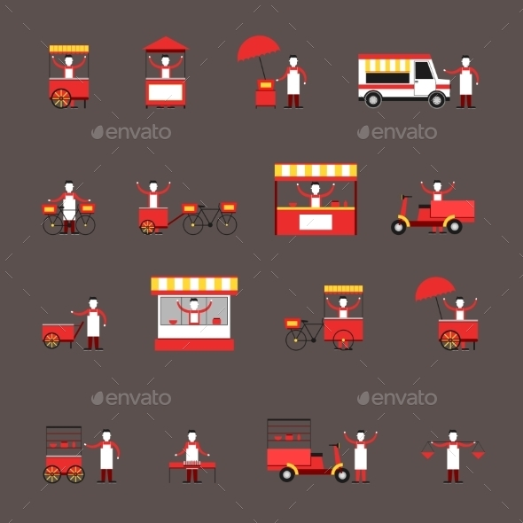 GraphicRiver Street Food Icons 9678373