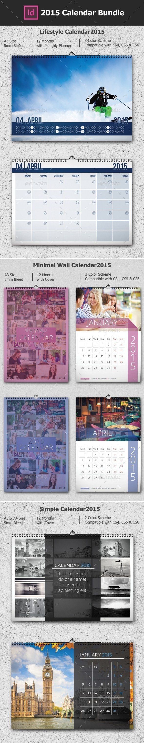 GraphicRiver 2015 Calendar Bundle 9678425