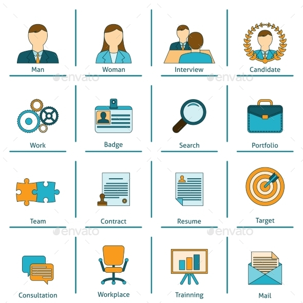 GraphicRiver Human Resources Flat Icons Set 9678608