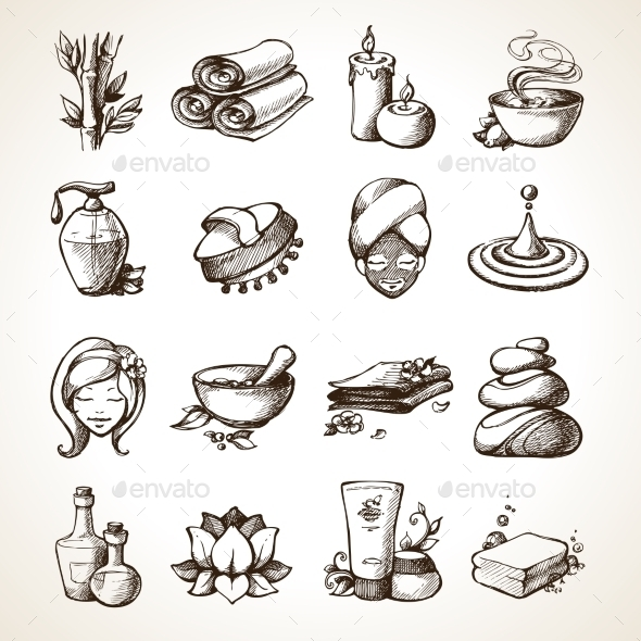GraphicRiver Spa Sketch Icons 9678634