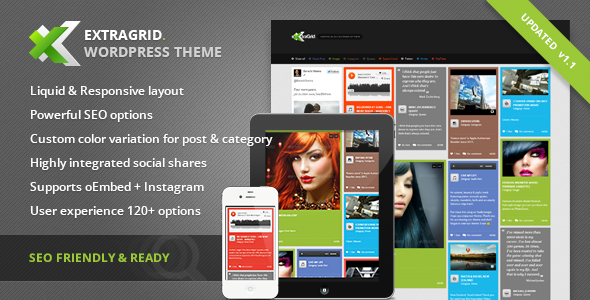 ExtraGrid - Creative, Blog & Multimedia theme Download