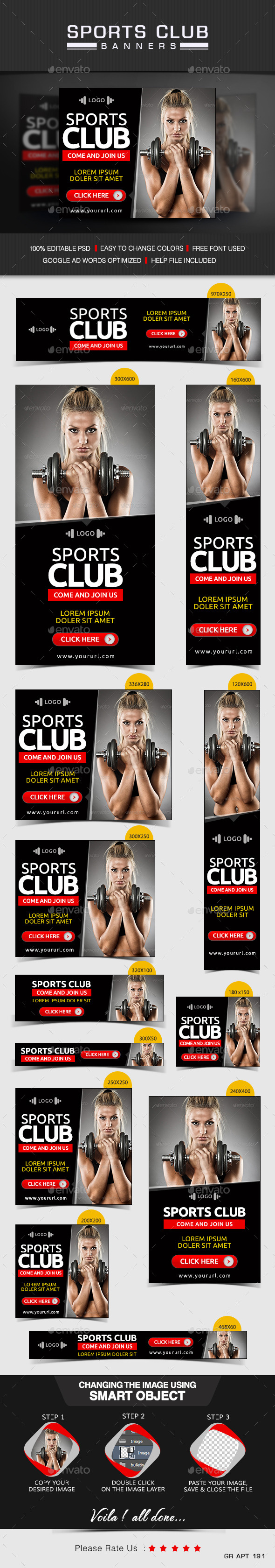 GraphicRiver Gym & Sports club Banners 9678694