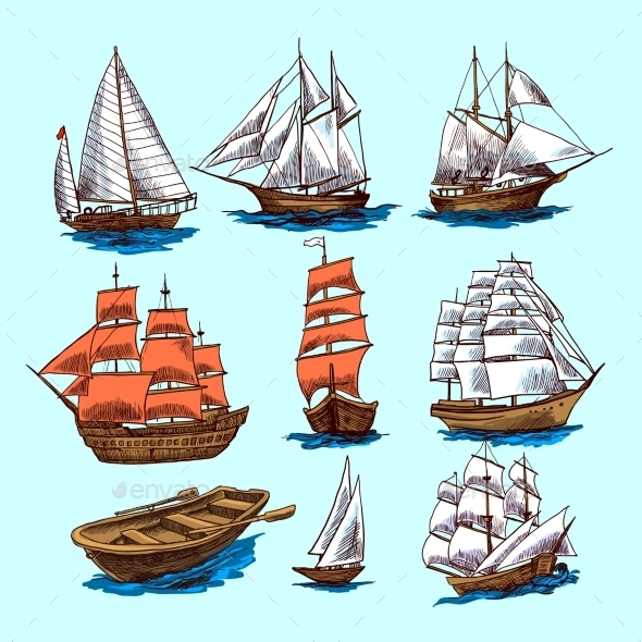 GraphicRiver Ships and Boats Set 9678705