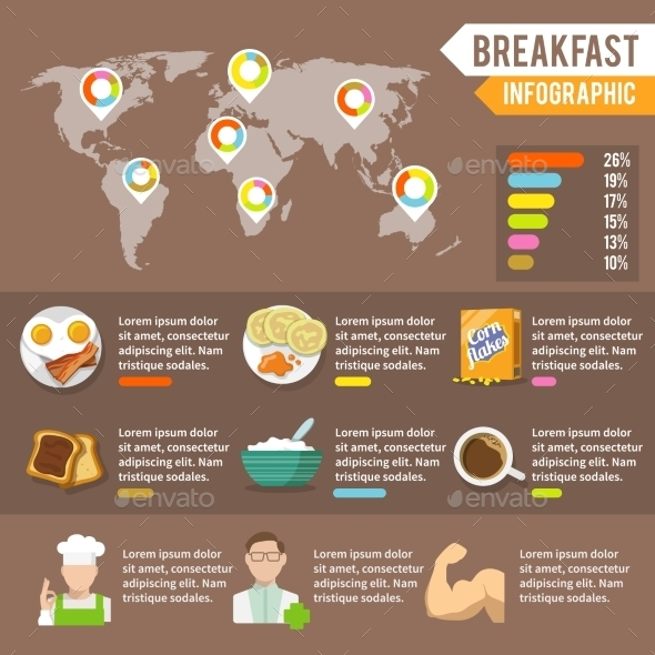 GraphicRiver Breakfast Infographic Set 9678733