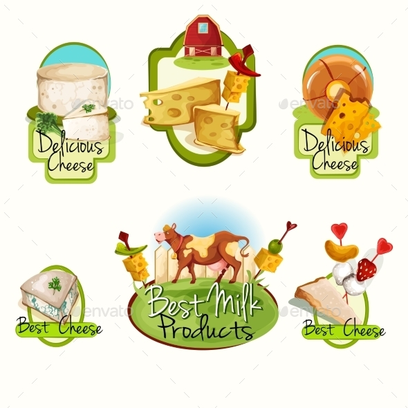 GraphicRiver Cheese Labels Set 9678741