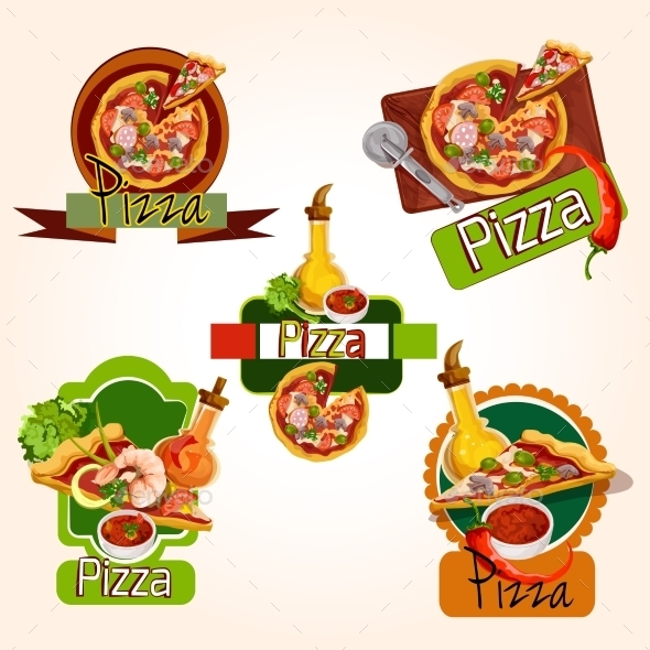 GraphicRiver Pizza Emblems Set 9678773