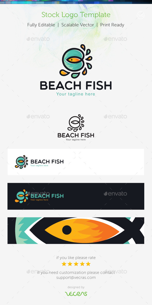 GraphicRiver Beach Fish Stock Logo Template 9678802