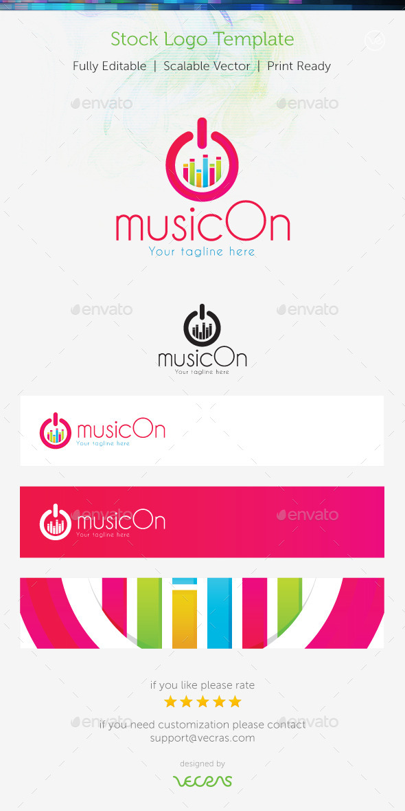 GraphicRiver MusicOn Stock Logo Template 9678804