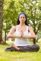 Fit brunette sitting in lotus pose with hands together on grass in the park