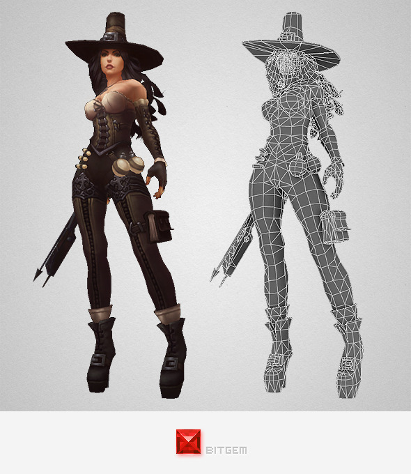 3DOcean Low Poly Female Hunter 9678819
