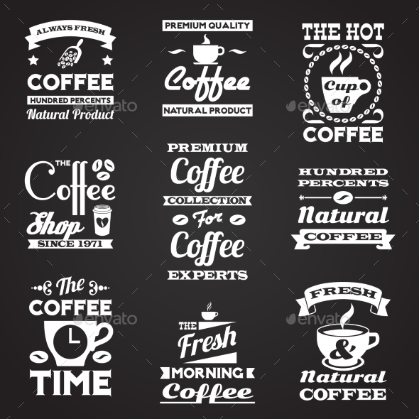 GraphicRiver Coffee Vintage Labels Set 9678829