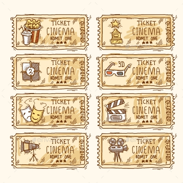 GraphicRiver Cinema ticket set 9678890
