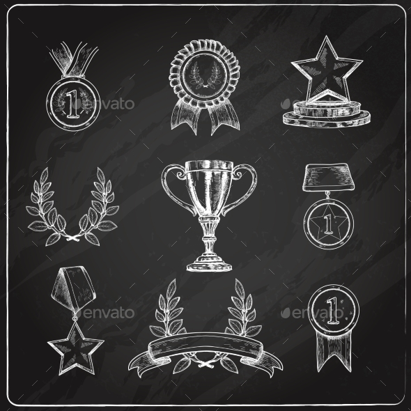 GraphicRiver Award Icons Set Chalkboard 9678908