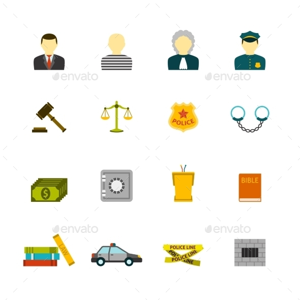 GraphicRiver Crime and Punishments Icons Set 9678963