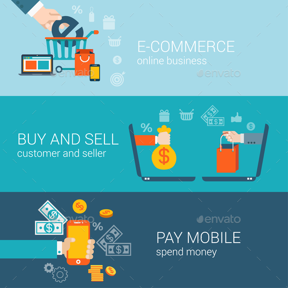 GraphicRiver Flat Style Mobile Online E-Commerce 9678971