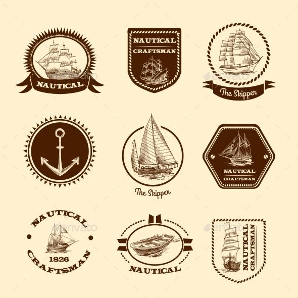 GraphicRiver Sketch Nautical Emblems 9679032
