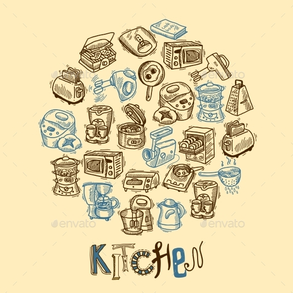 GraphicRiver Kitchen Equipment Sketch 9679069