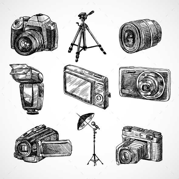 GraphicRiver Camera Sketch Icons Set 9679142