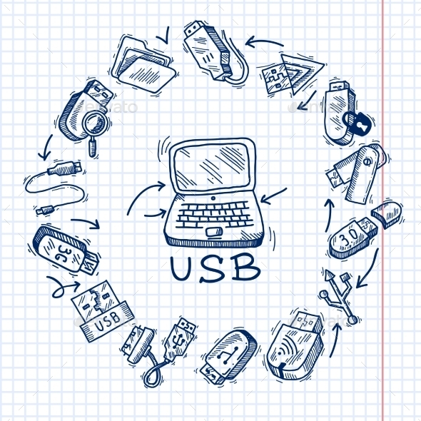 GraphicRiver Usb and computer 9679249