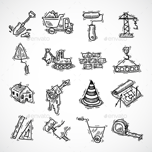 GraphicRiver Construction Icons Set 9679290
