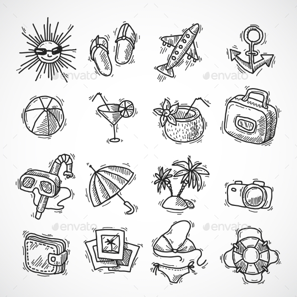 GraphicRiver Summer Vacation Icon Set 9679331