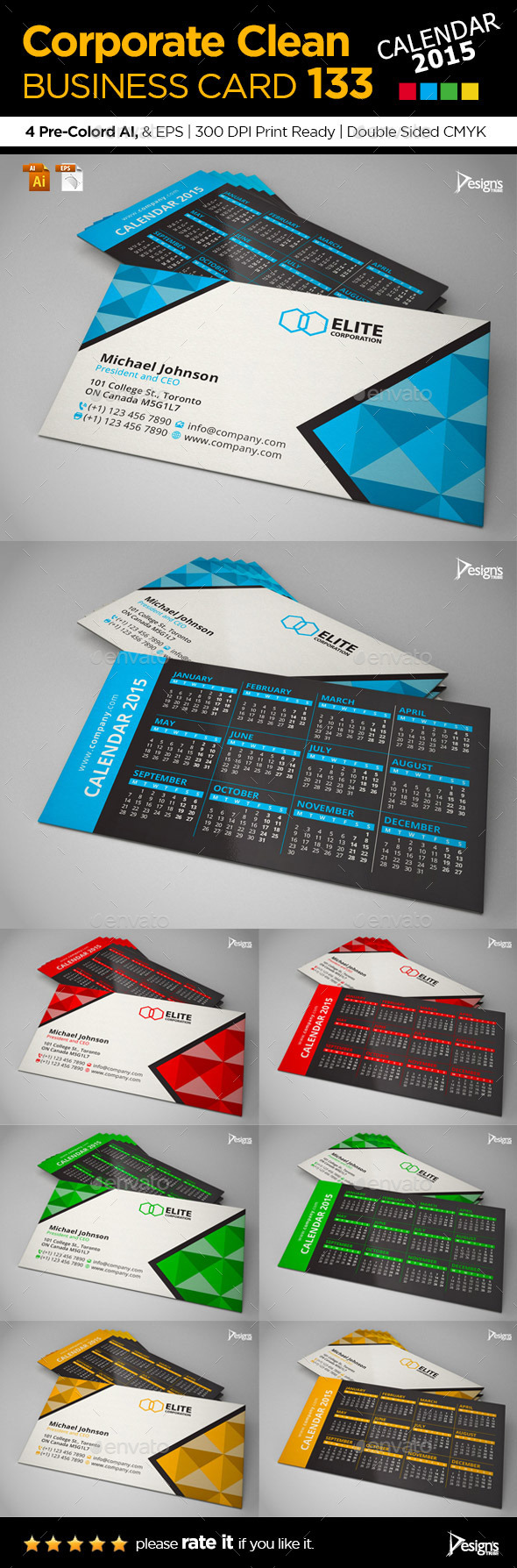 GraphicRiver Calendar 2015 Business Card 9680071