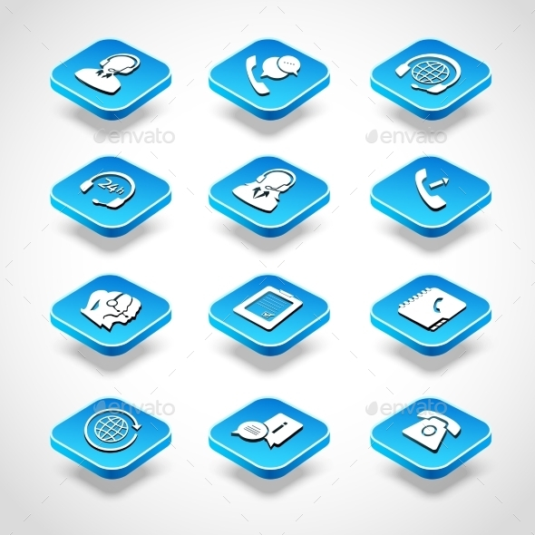GraphicRiver Call Center Isometric Icons 9680124