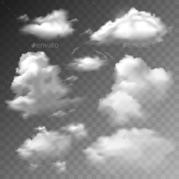 GraphicRiver Transparent Clouds Set 9680304