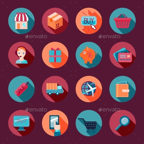 GraphicRiver Shopping E-commerce Icons Set Flat 9680321