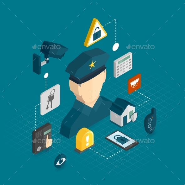 GraphicRiver Home Security Isometric Icons 9680426
